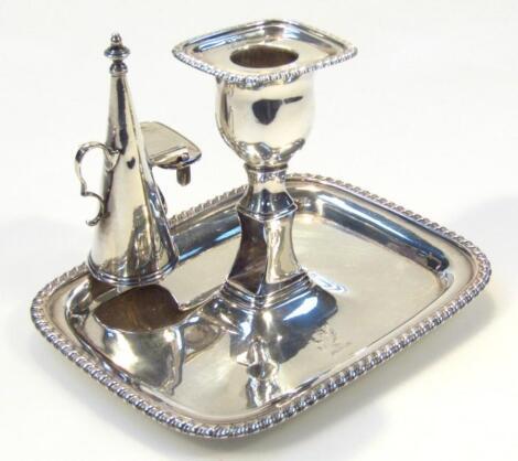 A George III silver taper candlestick