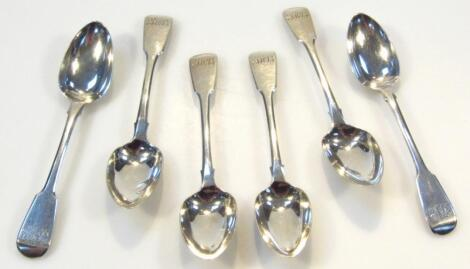 A set of six George V silver teaspoons