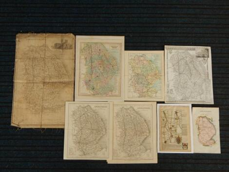 A quantity of unframed 19thC and later maps of Lincolnshire