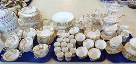 An extensive Royal Crown Derby green Derby panel part dinner tea and coffee service