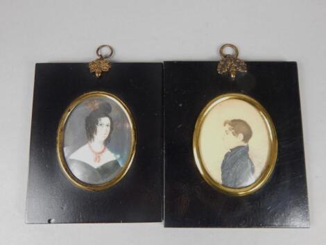Two similar 19thC miniatures