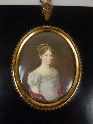 19thC School. Portrait miniature of a lady wearing a blue dress with shawl - 2