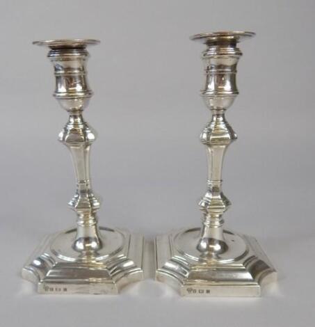 A pair of Elizabeth II silver candlesticks