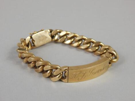 A 9ct gold identity bracelet