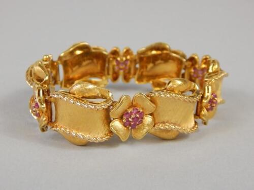 An 18ct gold ruby set bracelet