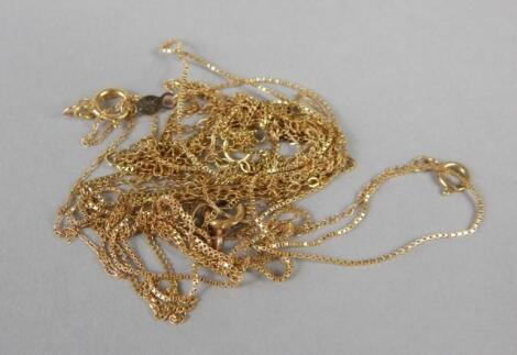 Various loose 9ct gold and other chains