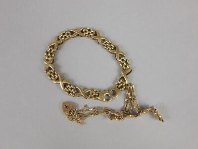Two 9ct gold bracelets