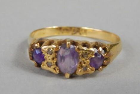 An 18ct gold Victorian amethyst and diamond dress ring