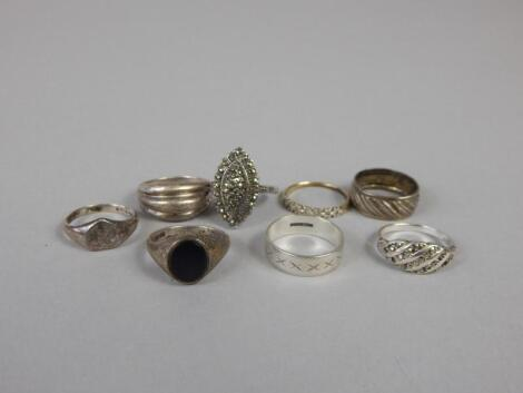 A quantity of silver dress rings