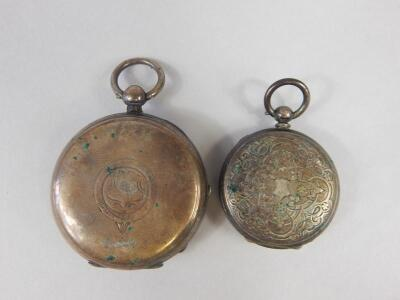 Two silver pocket watches and advertising keys - 2