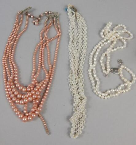 Various cultured pearl necklaces