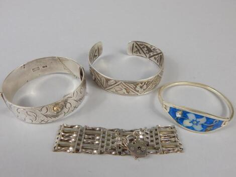 Various silver and white metal bracelets