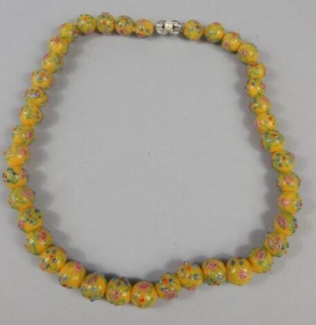 A glass bead necklace