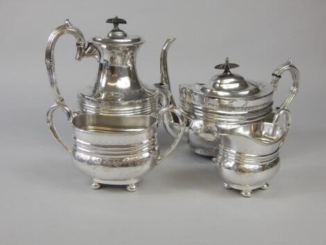 A Victorian silver plated four piece tea and coffee set
