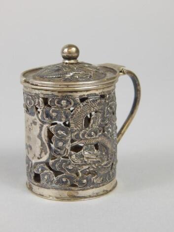 A Chinese white metal mustard pot