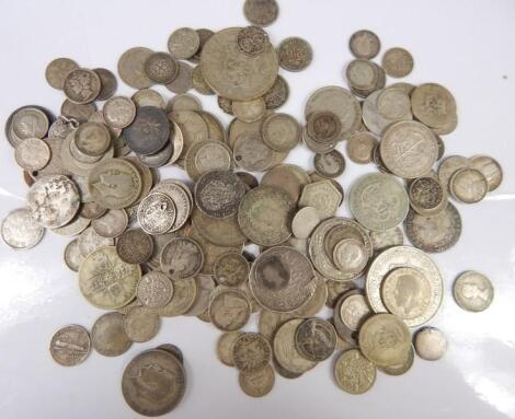 A large quantity of mainly silver and white metal coins