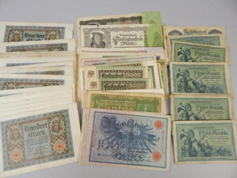 A collection of German bank notes