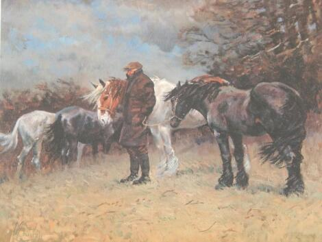 Malcolm Coward. A Farmer with Shires