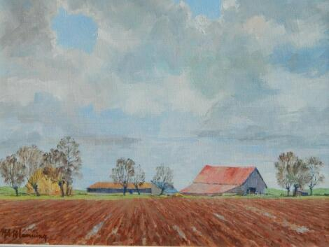 H A Manning. Rural scene with barns and ploughed field