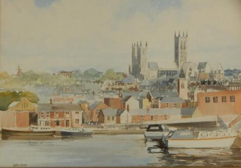 John Grove (20thC). Lincoln Cathedral from the Brayford
