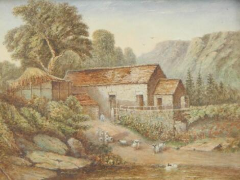 19thC British School. Rural scene with sheep to the waters edge