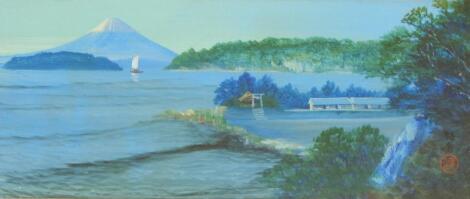 19th/20th Century Japanese School. Mount Fuji coastal view