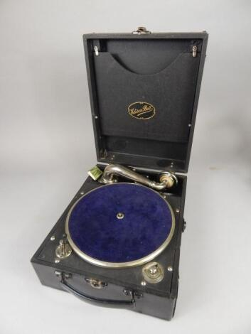 An Edison Bell wind up portable gramophone