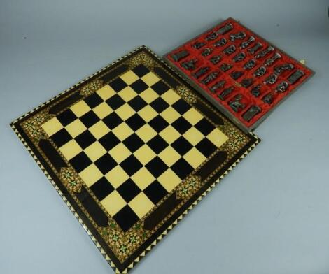 A Continental pewter chess set