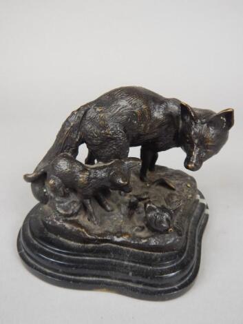 After Fratin. A modern bronze figure of a fox and her cubs