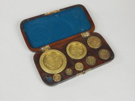 A set of brass scales and weights