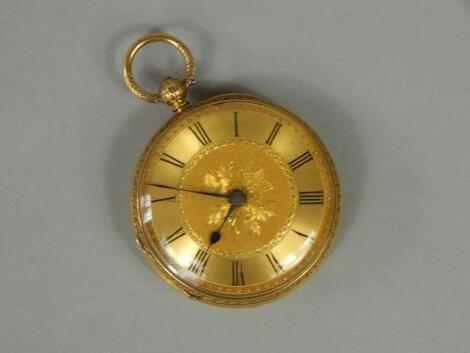 A late 19th/early 20thC 18carat gold fob watch