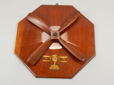 An early 20thC aviation related wall plaque