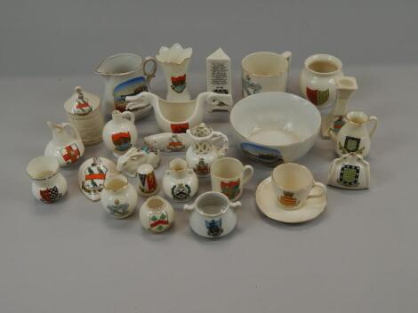 A quantity of crested porcelain relating to Lincolnshire and other counties