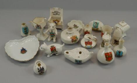Various items of crested ware