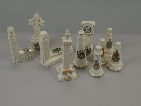 Various items of crested china