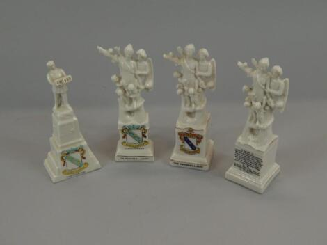 Four crested monuments