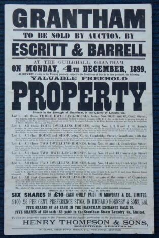 A late 19thC Lincolnshire related property auction poster