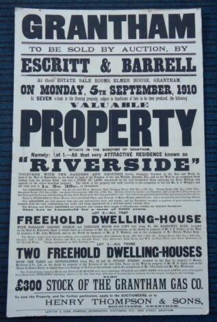 An early 20thC property auction poster