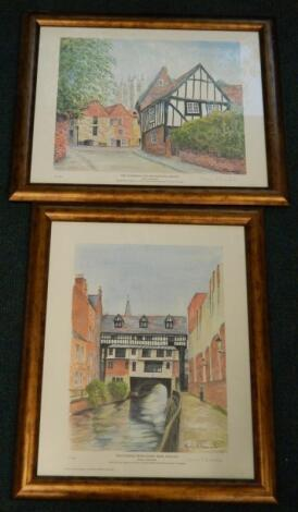 Shirley A Baxendale. The Cathedral and Michaelgate Lincoln and High Bridge from Glory Hole Lincoln