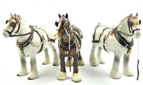 A pair of Beswick dappled grey shire horses