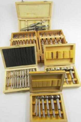 A cased set of hand auger bits by Ridgway