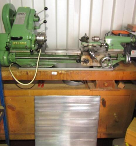 A Myford Super 7 metal turning lathe