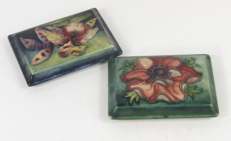 Two Moorcroft pottery lids