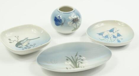 A Royal Copenhagen porcelain dish decorated with Paras Major (Blue tits)
