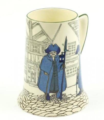 A Royal Doulton series ware pottery tankard decorated in the Night Watchman pattern