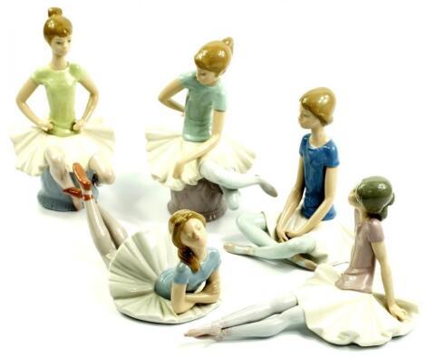 Five Lladro porcelain figures of ballerinas
