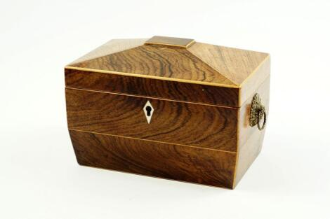 A George III rosewood and boxwood line inlaid tea caddy