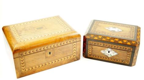 A Victorian walnut and parquetry inlaid sewing box