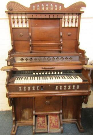 A late 19thC American mahogany cased organ by Cornish and Co Washington