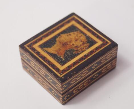 A Tunbridge ware inlaid stamp box